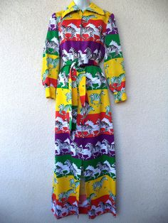 Vintage 70s MAXI DRESS Psychedelic ZEBRA Novelty Print Caftan Concept Swirl M #Concept70sSWIRL