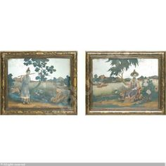 A FINE PAIR OF CHINESE EXPORT MIRROR PAINTINGS sold by Sotheby's, New York, on Wednesday, April 30, 2003