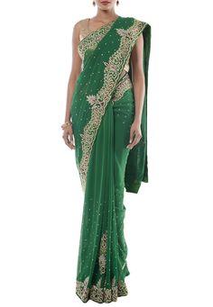 Sari Dress, Chiffon Saree, Shades Of Green, Green Dress, Indian Fashion, Photo Shoot, Formal Dresses, Stones, Blouses