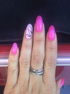 Hot pink oval nails flower design