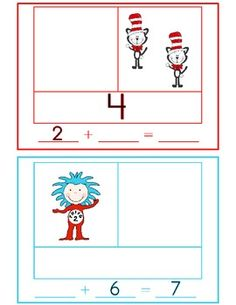This engaging Seuss-themed math activity will give your students practice using… Kindergarten Teachers, Teaching Math, Winter Activities, Math Activities, Cooperative Learning Groups, Part Part Whole, Read Across America Day, Primary Maths, Math Addition