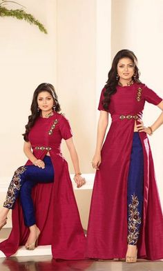 Magenta & Blue Floor Length Anarkali Suit-