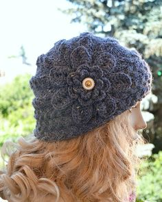 Knitted cap in flower cap  hat lovely warm autumn accessories women clothing Knit Hat Womens lovely cobalt sapphire    #knitted #cap #cobalt