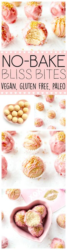 Glazed No-Bake Bliss Bites. Vegan, Gluten Free, Paleo, Nut-Free Version. Healthy, vanilla cake protein balls with Coconut Oil Glaze, using natural food coloring for a blush pink color. Perfect for special occasions, and so easy to make! #vegan #valentinesday #treats
