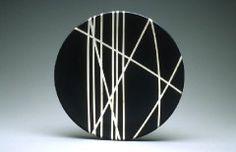 Black and white platter, Porcelain,  14 in. diameter, from Sam Scott Pottery