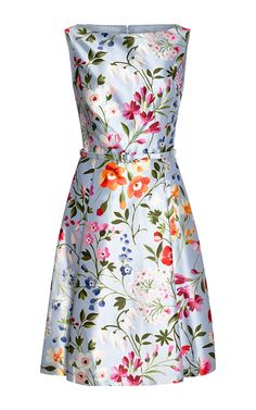 Floral-Print Cotton and Silk-Blend Twill Dress by Oscar de la Renta Now Available on Moda Operandi