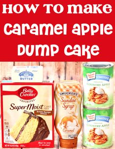 Caramel Apple Dump Cake Recipes - Easy Dessert Idea! This sweet Caramel Apple Dump Cake with ribbons of gooey caramel and a buttery crumble topping is one of the EASIEST desserts you'll ever make! Just 4 ingredients and you're done! Go grab the recipe & give it a try this week! Caramel Apple Dump Cake, Apple Dump Cakes, Dump Cake Recipes, Sweets Recipes, Apple Recipes, Easy Desserts, Baking Recipes, Delicious Desserts, Apple Caramel