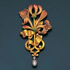 An art nouveau enamel, diamond and pearl pendant, by Plisson et Hartz, circa 1900