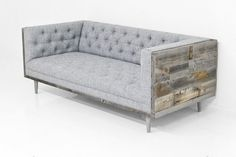 Koenig Cody Sofa in Zuma Pumice Linen Grey Wood Furniture, Recycled Wood Furniture, Mod Furniture, Grey Couches, Gray Sofa, Modern Grey Sofa, All Modern, Reclaimed Barn Wood, Wood Veneer
