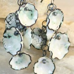 """'Rustic Cups"""" earrings  enamel fired copper.  Etsy (tekaandzoe)."""