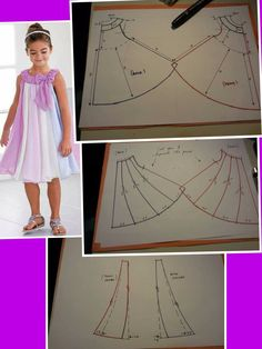 Little Hedda - Set consists of: Knitted DROPS dress with lace edge and round yoke in Kids Clothes Patterns, Baby Girl Dress Patterns, Clothing Patterns, Frock Patterns, Dress Sewing Patterns, Girls Dresses Sewing, Little Girl Dresses, Costura Fashion, Kids Dress Wear