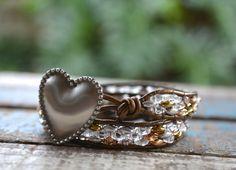 Heart Engraved Double Wrap Bracelet Custom by linksofhope on Etsy