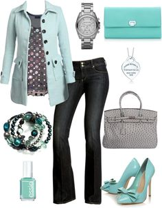 Tiffany Blue outfit for spring. High heels are from the underworld, but some cute blue flats would be totally doable.