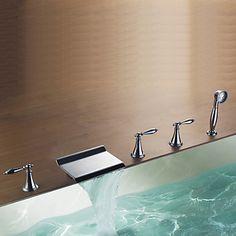 Diseño moderno acabado cromado rectangular cascada grifo de la bañera con ducha de mano - USD $ 199.99