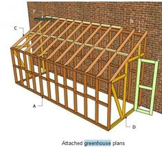 This step by step woodworking project is about lean to greenhouse plans. Building an attached greenhouse is a straight forward job, if you use the right plans. Homemade Greenhouse, Lean To Greenhouse, Outdoor Greenhouse, Greenhouse Gardening, Greenhouse Ideas, Greenhouse Wedding, Cheap Greenhouse, Greenhouse Attached To House, Portable Greenhouse