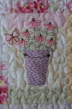 Butterfly Garden Block of the Month Quilt: Butterfly Garden - Close Up. Sweet.