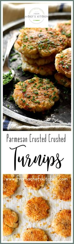 Parmesan Crusted Crushed Turnips are a sophisticated, delicious, low-carb alternative to crushed potatoes! #parmesan #turnips #lowcarb #vegetable via @chefcarolb