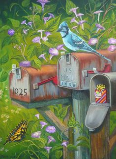 Rural Mailboxes With Bird And Butterfly Painting