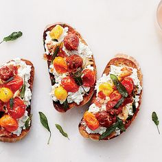 Ricotta and Roasted Tomato Bruschetta with Pancetta | Peak-season tomatoes make all the difference in this simple bruschetta from author Susan Spungen. They're the perfect accompaniment to a bowl of soup or a large salad, or, to turn them into two-bite hors d'oeuvres, simply cut the bruschetta crosswise into strips.