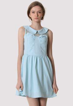 Peter Pan Collar High Waist Dress in Blue #Chicwish