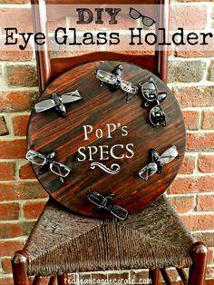 "DIY Eye Glass Holder-really cool idea.  You'll never hear, ""I lost my glasses"" again."