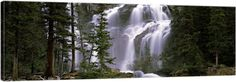 Solid-Faced Canvas Print Wall Art Print entitled Waterfall in a forest, Banff, Alberta, Canada