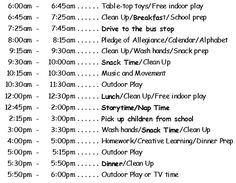 Sample daycare schedule... because well this would work