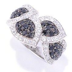 Gem Treasures Sterling Silver 1.63ctw Black Spinel & White Zircon Leaf Ring