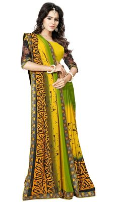 Be an angel in this mehendi green and yellow color georgette printed sari. Beautified with block print and lace work. Upon request we can make round front/back neck and short 6 inches sleeves regular saree blouse also. #MehndiGreenAndYellowBlockPrintSari