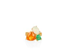 Fire opal, Emerald and Opal set in 14k gold Ring - www.annaruthhenriques.com