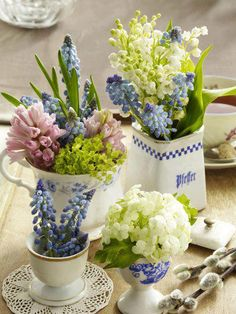 vintage porcelain centerpiece in tones of blue