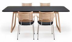 Table de salle à manger extensible Twist Nano - Twist Nano sans allonges, plateau stratifié Anthracite, pieds chêne savonné. 2014EUR