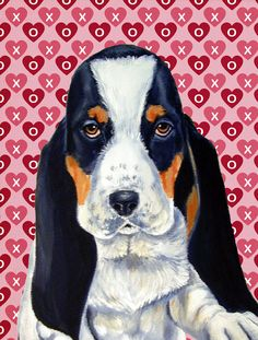Basset Hound Hearts Love and Valentine's Day Portrait 2-Sided Garden Flag