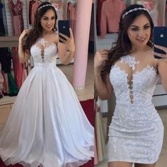 Convertible Wedding Dresses, Fancy Wedding Dresses, Elegant Wedding Dress, Bridal Dresses, Elegant Dresses, Beautiful Dresses, Prom Dresses, 2 In 1 Wedding Dress, Wedding Veil