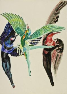 """Projekt kostiumu do baletu """"Taniec ptaków"""" ok. 1950 akwarela, gwasz, kolaż na papierze Musées de Poitiers"""