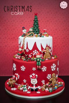 Christmas Themed Cake, Christmas Cake Designs, Christmas Cake Decorations, Christmas Cupcakes, Christmas Sweets, Holiday Cakes, Christmas Cooking, Fondant Christmas Cake, Christmas Cake Topper