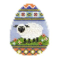 mill hill cross stitch egg | Sheep Egg Beaded Easter Cross Stitch Kit Mill Hill 2013 Spring Bouquet ...