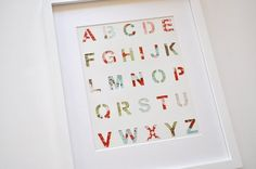Easy and Simple: DIY - Alphabet Wall / Alphabet on the Wall.made with a painted alphabet stencil and scrap paper glued behind! Stencil Fabric, Stencil Diy, Fabric Paper, Fabric Scraps, Alphabet Stencils, Alphabet Art, Alphabet Nursery, Diy Baby Gifts, Baby Shower Gifts