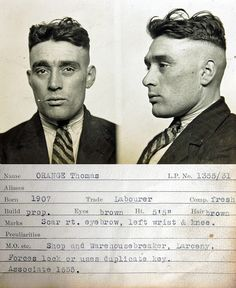 Thomas Orange    This mug shot comes from a police identification book believed to be  from the 1930s. It was originally found in a junk shop by a member of  the public and subsequently donated to Tyne & Wear Archives & Museums.  No information is available to confirm which police force compiled it  but evidence suggests it's from the Newcastle upon Tyne area.