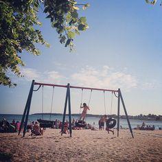 Slite strand – Gotlandstips.se  #beach #sand #ocean #holiday #gotland #sweden Sweden, Beaches, Swimming, Ocean, Holiday, Vacations, Holidays, The Ocean