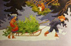 My Woodland Garden by Rudolf Koivu Vintage Greeting Cards, Vintage Christmas Cards, Christmas Greeting Cards, Christmas Greetings, Christmas Sketch, Christmas Art, Christmas Decorations, Winter Illustration, Children's Book Illustration