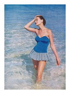 1957 fashion photograph by Richard Dormer | Fantasie swimsuit. From harper's Bazaar.