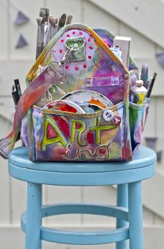 painted art travel bag by artist michelle allen - tool bag from home depot or lowes