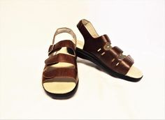 NEW Propet Breeze 9/40 N Walker Sandals Brown Leather Adjustable Straps Flat #Propet #SlingbackWalkingSandal #Casual
