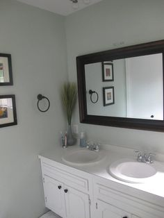 Sherwin Williams Sea Salt and Rainwashed - Sea Salt master bathroom makeover AFTER - Thrift Diving