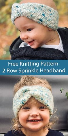 Free Knitting Pattern Sprinkle Headband Baby, Child, Adult Headband in all sizes knit with a 2 row repeat herringbone texture. Includes photo tutorial. Sizes XS (S) M (L) XL for baby, child, and adult. Uses one skein 149 yards (136 m) of recommended Bulky weight yarn. Designed by Sophia Prinz. Available in English and German Baby Hat Knitting Patterns Free, Knitting For Kids, Knitting Projects, Free Knitting, Knit Headband Pattern, Knitted Headband, Knitted Hats, Crochet Hats, Herringbone Stitch
