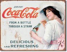 Coca Cola Vintage, Vintage Tin Signs, Vintage Advertising Signs, Vintage Advertisements, Vintage Ads, Vintage Stuff, Vintage Posters, Vintage Metal, Vintage Prints