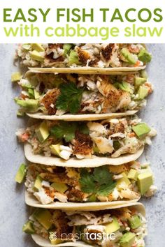 Easy Fish Tacos with Cabbage slaw make a perfect weeknight recipe that you can pull together really quickly. I used tilapia fish fillets topped with my blackened seasoning. They cook very fast on a large sheet pan in the oven. Fish Taco Cabbage Slaw, Slaw For Fish Tacos, Healthy Fish Tacos, Easy Fish Tacos, Tilapia Fish Tacos, Shrimp Tacos, Slaw Recipes, Fish Recipes, Seafood Recipes
