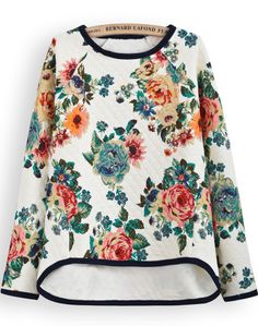 Apricot Long Sleeve Floral Dipped Hem Sweatshirt - Sheinside.com