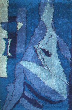 Moonamo danish rya rug nude abstract wall hanging